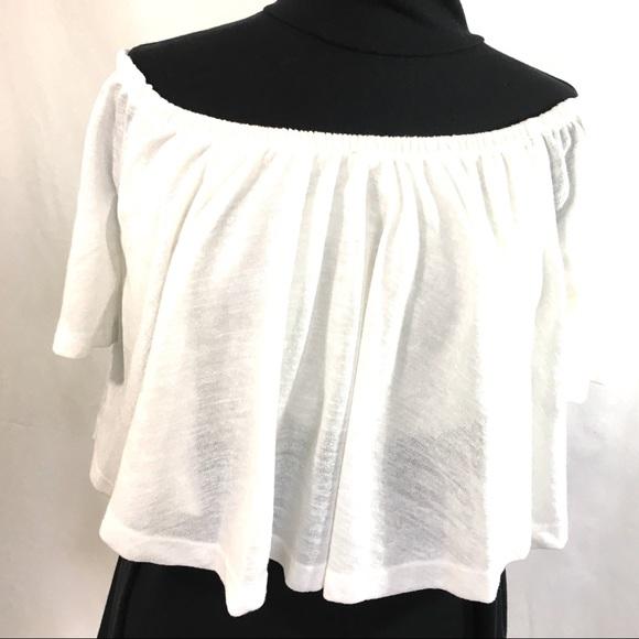 ASOS Cropped Knit Boho Off-Shoulder Cream SZ8 Top